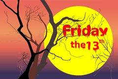 Döda träd på nattskymningtid efter den violetta/lilor solnedgången, röd orange ljus med vita fredag och rött den 13th texten vektor illustrationer