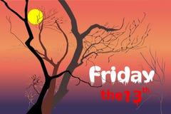 Döda träd på nattskymningtid efter den violetta/lilor solnedgången, röd orange ljus med vita fredag och rött den 13th texten royaltyfri illustrationer
