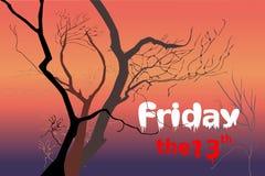 Döda träd på nattskymningtid efter solnedgången som är violett/lilor, rött orange ljus med vita fredag och röd ` den 13th `-texte royaltyfri illustrationer
