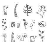 Döda träd som drar vektorn Stock Illustrationer