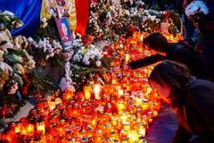 Dödcomemoration av konungen Mihai av Rumänien royaltyfria bilder