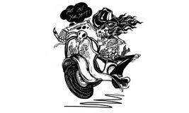 Dödlig flygasparkcykel stock illustrationer