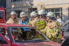 Dödlig trafikolycka - fångad person Royaltyfri Foto