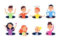 Dölja hålungar Gulliga skoja barnpojkar och flickor döljer i illustration för vektor för golvhål plan royaltyfri illustrationer