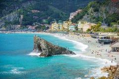 Dörfer auf Küste von La Spezia-Provinz in Ligurien, Italien Stockfotos