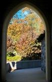 Dörröppning som öppnar upp in mot träd och buskar som visar deras färgrika nedgånglövverk, på en solklar höstdag på arkivbilder