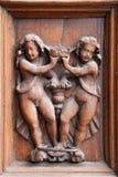 Dörröppningen av den Spello Santa Maria Maggiore domkyrkan - detalj, Umbria Arkivbilder