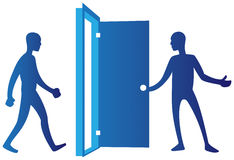dörröppningsperson Arkivbild