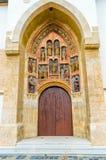 Dörr av den kyrkliga St Mark `en s i Zagreb, detaljer Arkivbilder