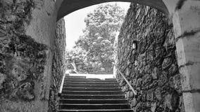 Dörr av slotten av Santa Cruz i Santa Cruz Galicia, Spanien Royaltyfria Foton