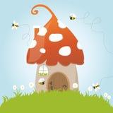 Dörr för gräsplan för gräs för blomma för bin för vårchampinjonhus royaltyfri illustrationer