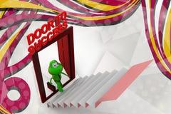 dörr för groda 3d till framgångillustrationen Arkivbild