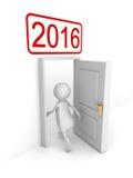 Dörr för nytt år för vit 3d Person Enterring In 2016 Royaltyfri Bild