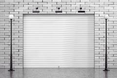 Dörr för port för rullande slutare för garage med tegelstenväggen och gatan Ligh stock illustrationer