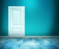 Dörr i blå badlokal Arkivbild