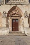 Dörr i domkyrkan av Burgos, castilen och Leon, Spanien Royaltyfri Bild