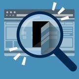 Dörr i internetwebbläsare sammankoppliner för kopieringsdata för begreppet konventionell avstånd för säkerhet för padlocken för a Arkivbilder