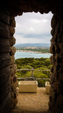 Dörr med panorama arkivfoto