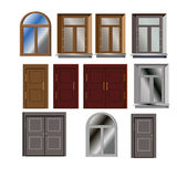 Dörr- och fönstervektorn ställde in för byggande yttersida Arkivfoto