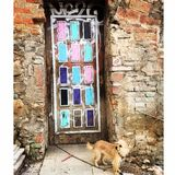 Dörr på Montjuic, Barcelona Spanien Fotografering för Bildbyråer