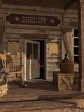 Dörr till sheriffs kontor stock illustrationer