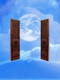 dörrar öppnar till världen stock illustrationer