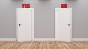Dörrar med beslut ja och inte stock illustrationer