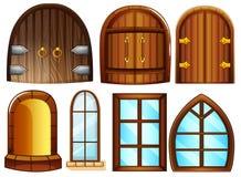 Dörrar och fönster vektor illustrationer
