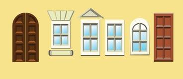 Dörrar och fönster stock illustrationer