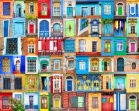 Dörrar och fönster av världen Färgrik collage, loppbegrepp arkivfoton