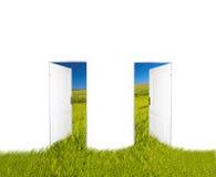 dörrar som är nya till världen stock illustrationer