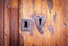 Dörren med två låser, en formad hjärta Royaltyfria Bilder