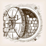 Dörren som hyr rum kassaskåpet, skissar stilvektorillustrationen Arkivbilder