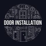 Dörrinstallation, reparationsbanerillustration Vektorlinjen symboler av olika dörrtyper, handtag, låser, låser, gångjärn royaltyfri illustrationer