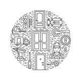 Dörrinstallation, reparationsbanerillustration Vektorlinjen symboler av olika dörrtyper, handtag, låser, låser, gångjärn stock illustrationer