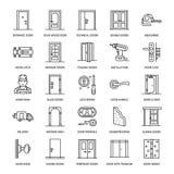 Dörrinstallation, reparationslinje symboler Olika dörrtyper, handtag, låser, låser, gångjärn Inredesignen gör linjärt tunnare stock illustrationer