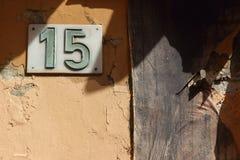 15 dörrnummer Fotografering för Bildbyråer