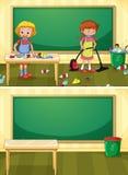 Dörrvakt Cleaning Dirty Classroom royaltyfri illustrationer