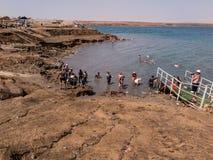 DÖTT HAV, ISRAEL - Juli 14: Badningsaltvatten och gyttja i det döda set royaltyfria foton