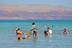 Dött hav, Israel - 31 MAJ 2017: folket på stolar kopplar av och simmar i vattnet av det döda havet i Israel Turism, royaltyfria foton