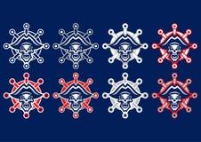'Dött piratkopiera 'maskotlogoen Lagmaskotlogo Skallelogopirat vektor illustrationer