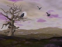 Dött träd och galanden som är korpsvarta vid natt - 3D framför stock illustrationer