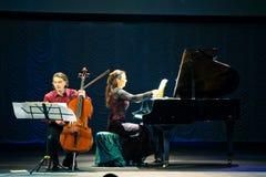 Dúo de Beethoven - Fedor Elesin y Alina Kabanova fotografía de archivo