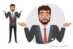 Dúvida dos homens novos, nenhumas ideias Emoção da incerteza e da confusão na cara do indivíduo ilustração stock