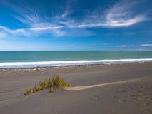 Düne im schwarzen Sand-Strand nahe neuem Plymouth, Neuseeland Stockbild