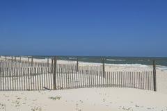 Düne-Zäune auf dem Strand Stockbild