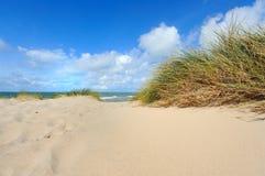 Dünen durch das Meer Stockfoto