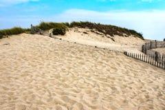 Dünen mit Gras auf Oberseite und viele Schritte im Vordergrund mit von Zäunen mit Sand zur Spitze unter einem recht blauen Himmel stockbild