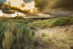 Dünenlandschaft während des Sturms Stockbilder