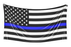 Dünne blaue Zeile Schwarze Flagge von USA mit Polizei-Blue Line-Hängen Lizenzfreies Stockfoto